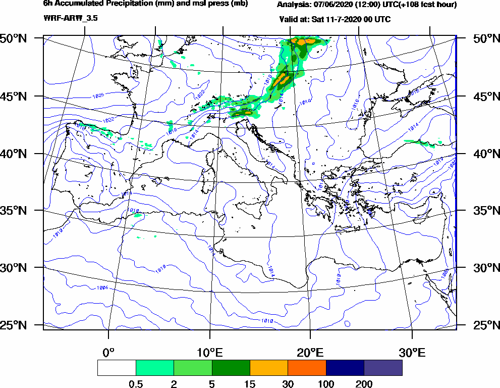 6h Accumulated Precipitation (mm) and msl press (mb) - 2020-07-10 18:00