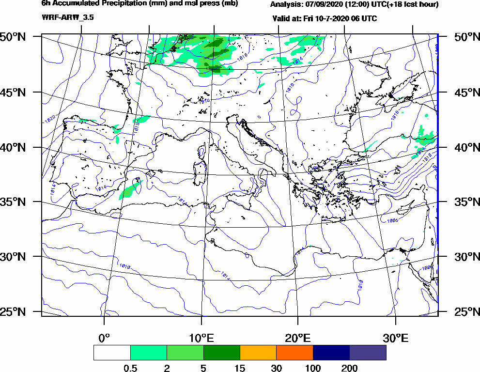6h Accumulated Precipitation (mm) and msl press (mb) - 2020-07-10 00:00