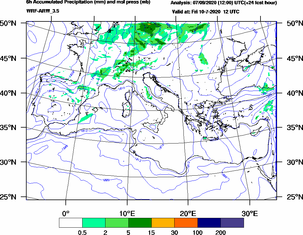 6h Accumulated Precipitation (mm) and msl press (mb) - 2020-07-10 06:00