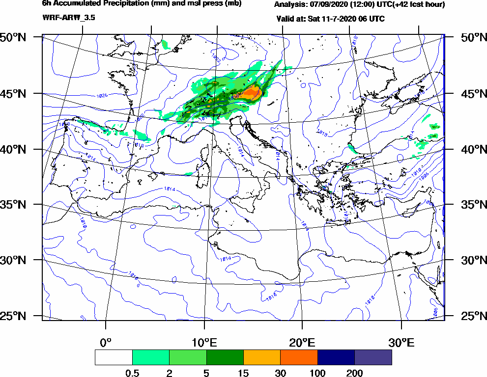 6h Accumulated Precipitation (mm) and msl press (mb) - 2020-07-11 00:00