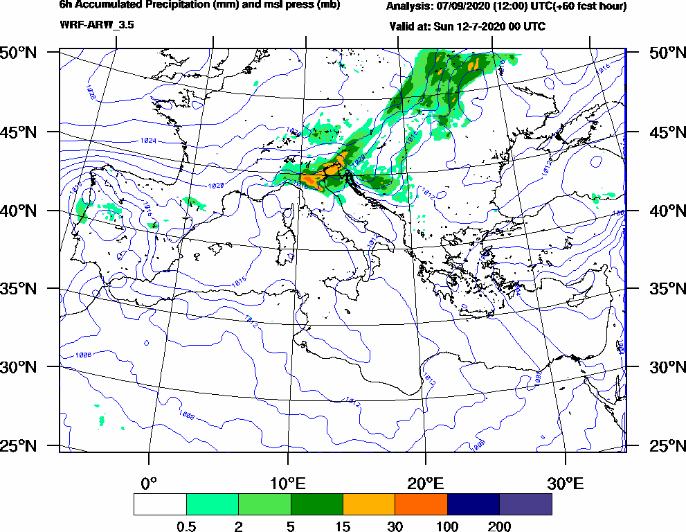 6h Accumulated Precipitation (mm) and msl press (mb) - 2020-07-11 18:00