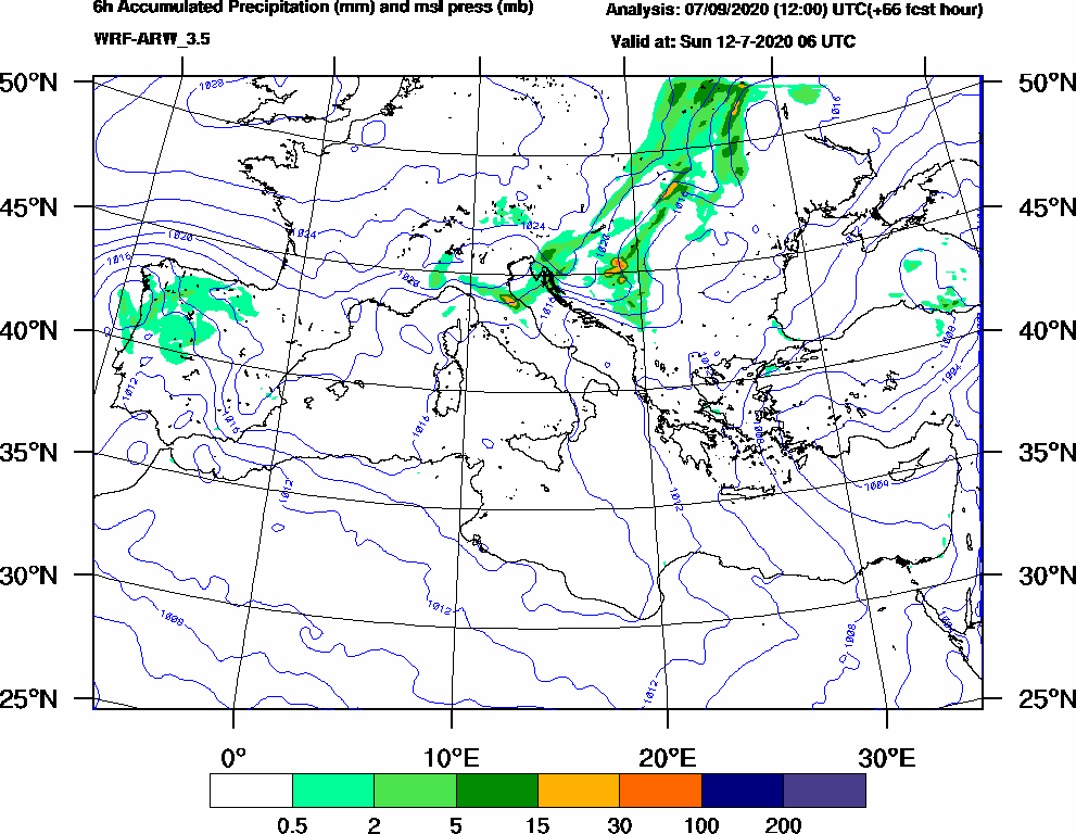 6h Accumulated Precipitation (mm) and msl press (mb) - 2020-07-12 00:00