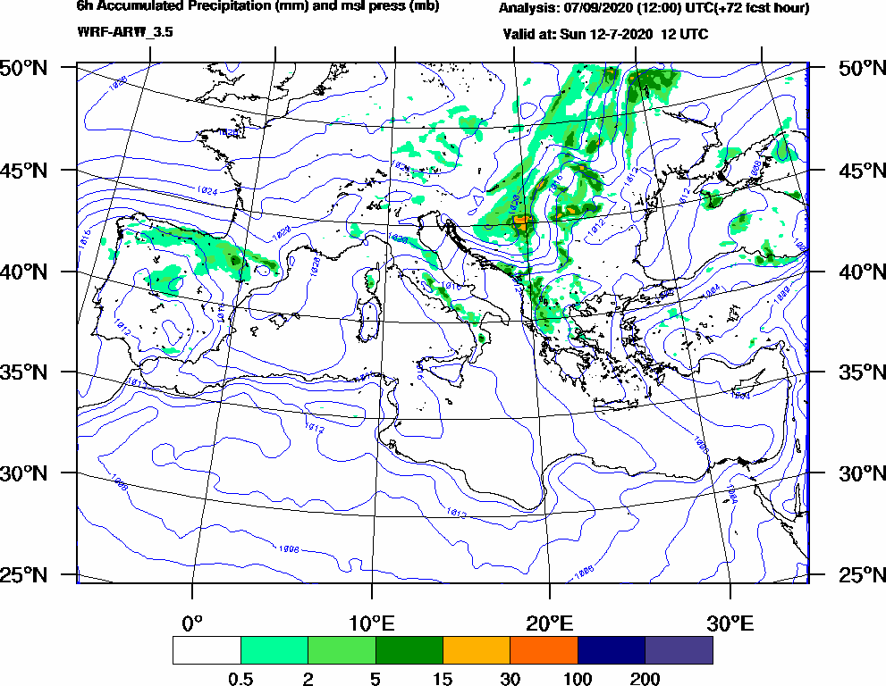 6h Accumulated Precipitation (mm) and msl press (mb) - 2020-07-12 06:00