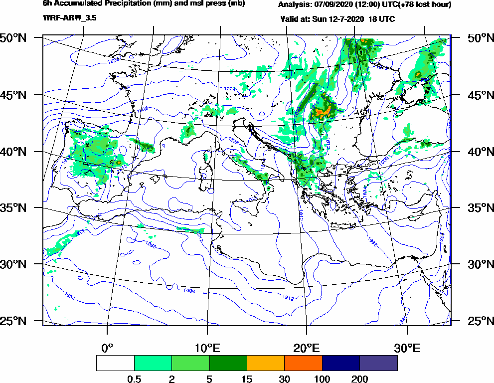 6h Accumulated Precipitation (mm) and msl press (mb) - 2020-07-12 12:00