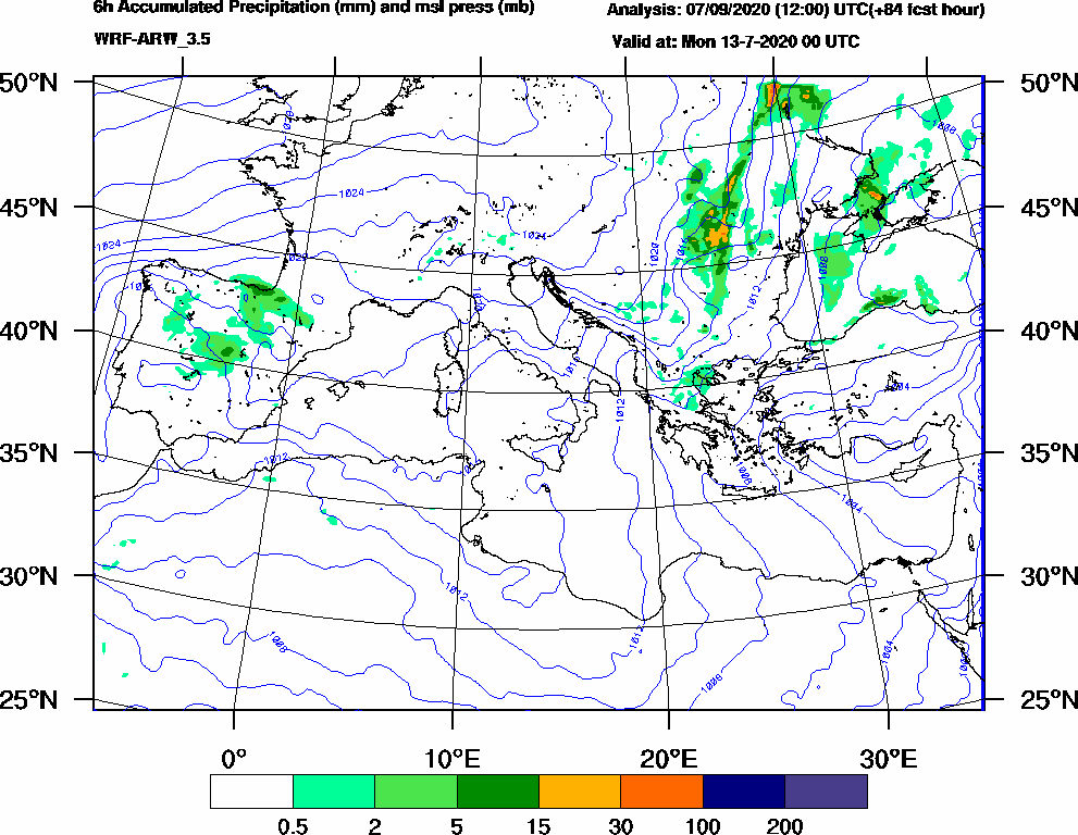 6h Accumulated Precipitation (mm) and msl press (mb) - 2020-07-12 18:00