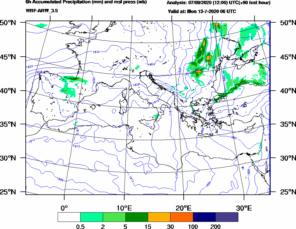 6h Accumulated Precipitation (mm) and msl press (mb) - 2020-07-13 00:00