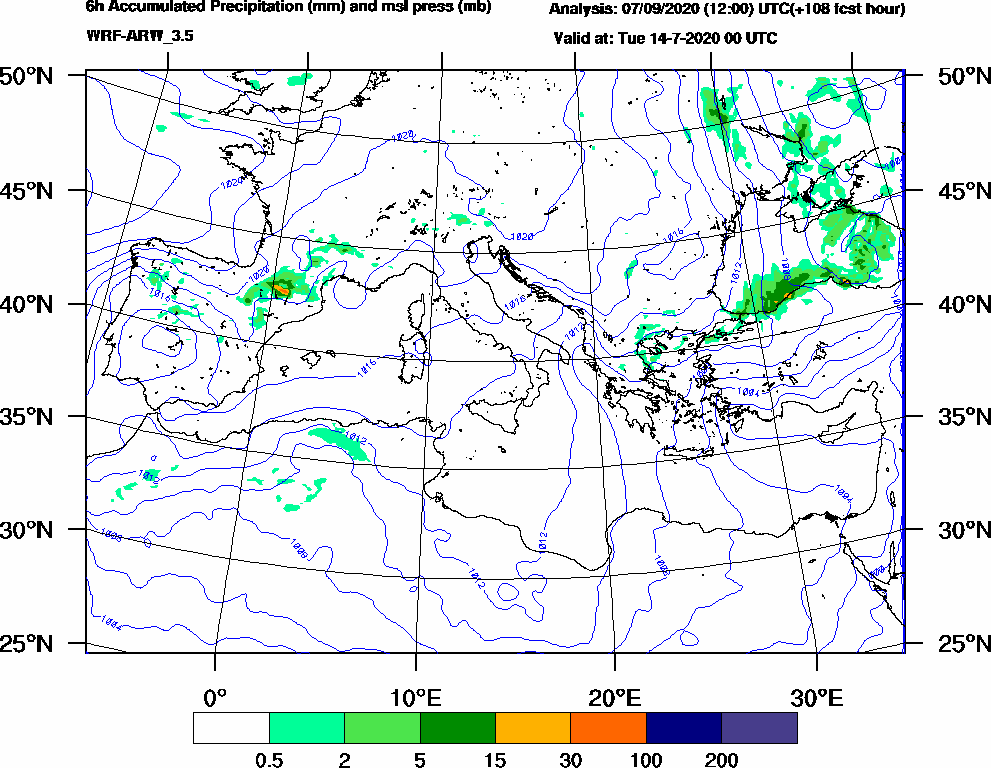 6h Accumulated Precipitation (mm) and msl press (mb) - 2020-07-13 18:00