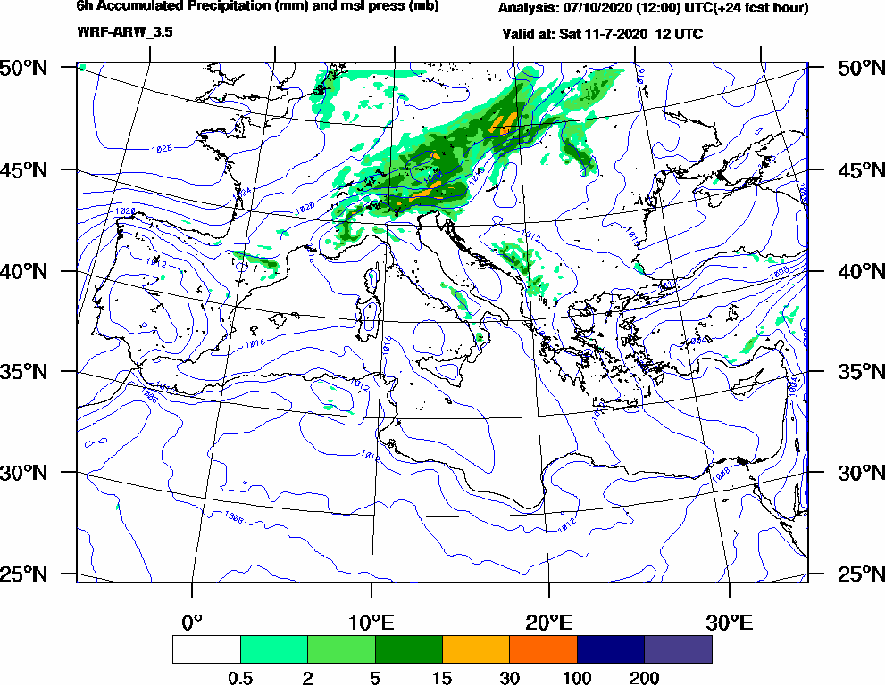 6h Accumulated Precipitation (mm) and msl press (mb) - 2020-07-11 06:00