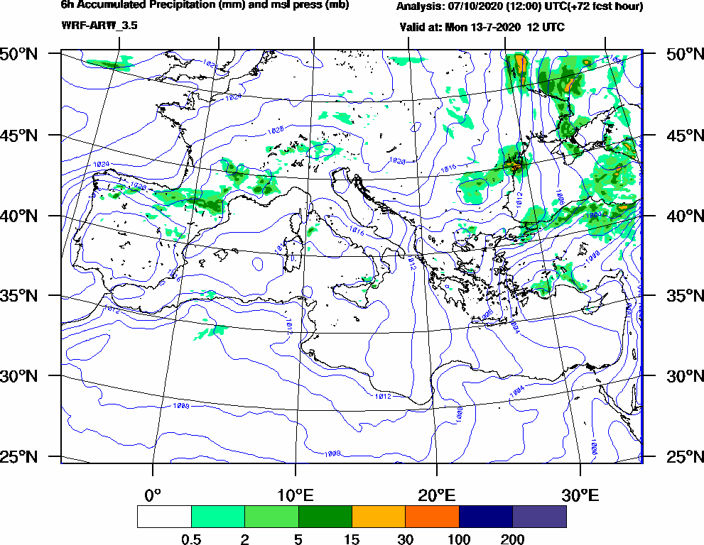 6h Accumulated Precipitation (mm) and msl press (mb) - 2020-07-13 06:00