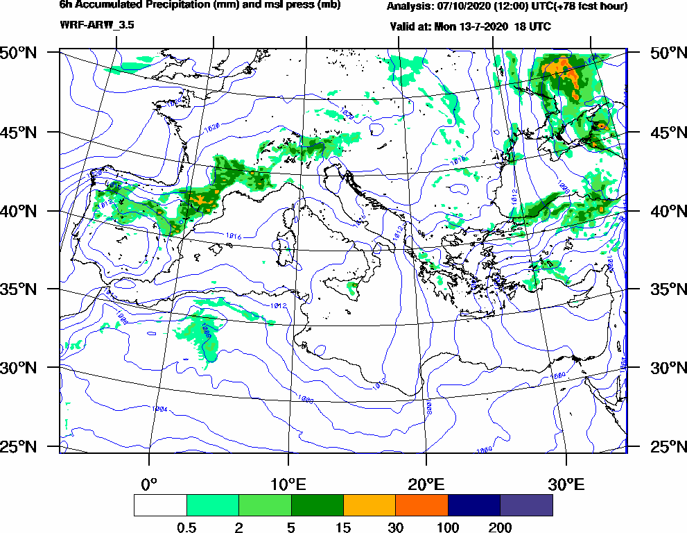 6h Accumulated Precipitation (mm) and msl press (mb) - 2020-07-13 12:00