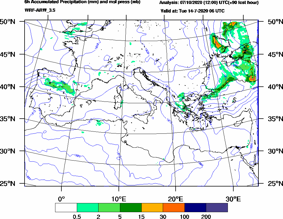 6h Accumulated Precipitation (mm) and msl press (mb) - 2020-07-14 00:00