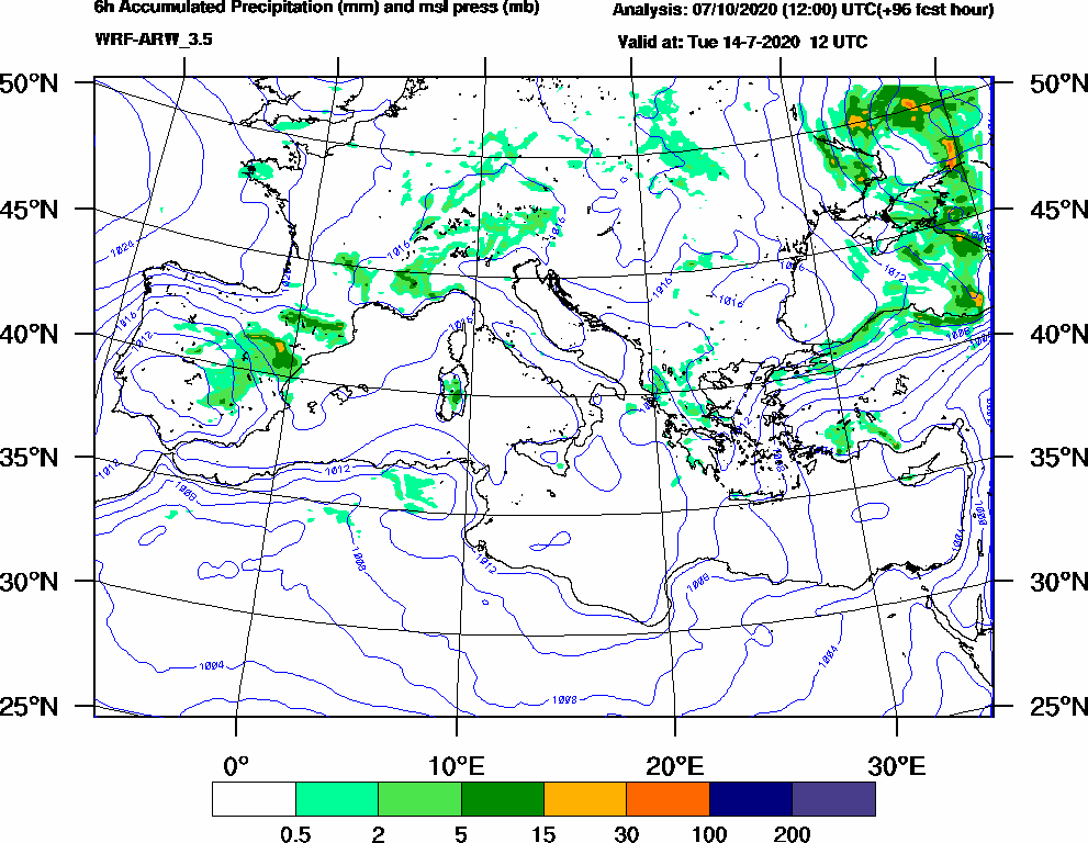 6h Accumulated Precipitation (mm) and msl press (mb) - 2020-07-14 06:00