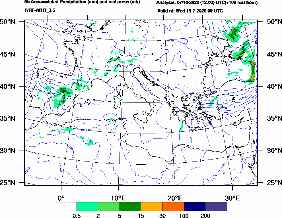 6h Accumulated Precipitation (mm) and msl press (mb) - 2020-07-14 18:00
