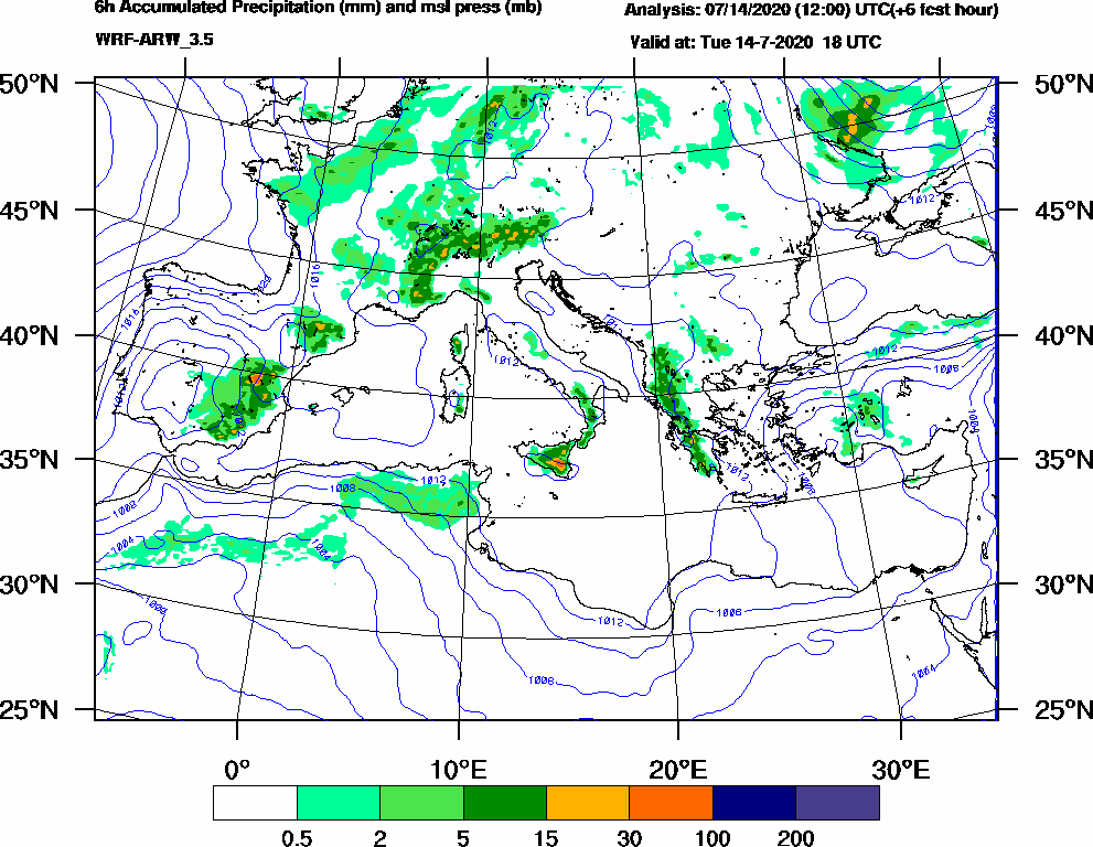 6h Accumulated Precipitation (mm) and msl press (mb) - 2020-07-14 12:00