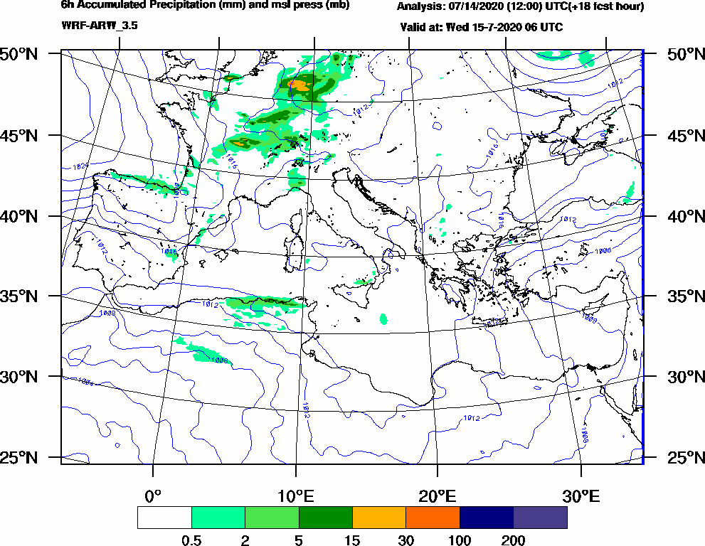 6h Accumulated Precipitation (mm) and msl press (mb) - 2020-07-15 00:00