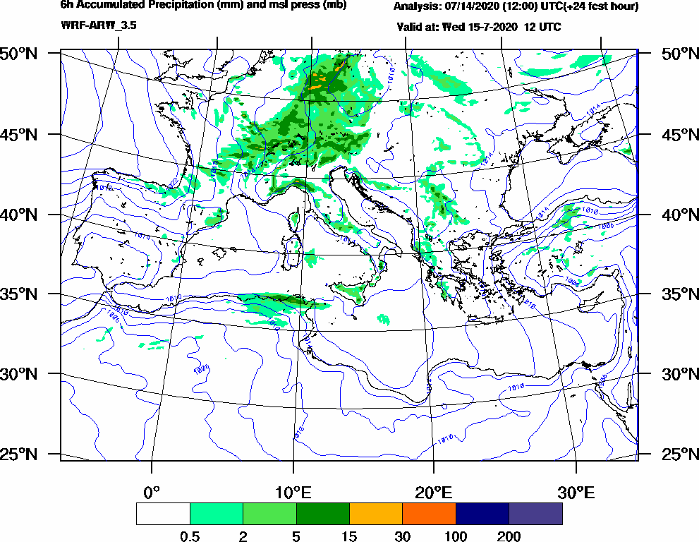 6h Accumulated Precipitation (mm) and msl press (mb) - 2020-07-15 06:00