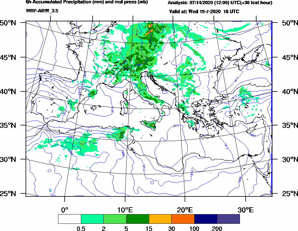6h Accumulated Precipitation (mm) and msl press (mb) - 2020-07-15 12:00