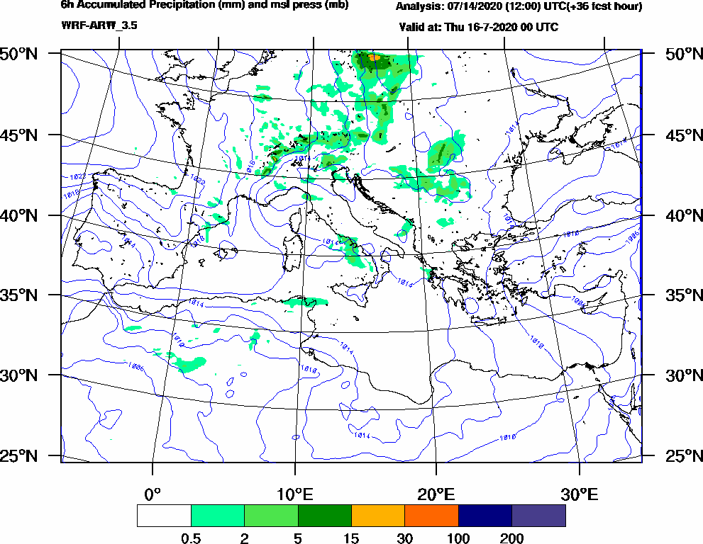 6h Accumulated Precipitation (mm) and msl press (mb) - 2020-07-15 18:00