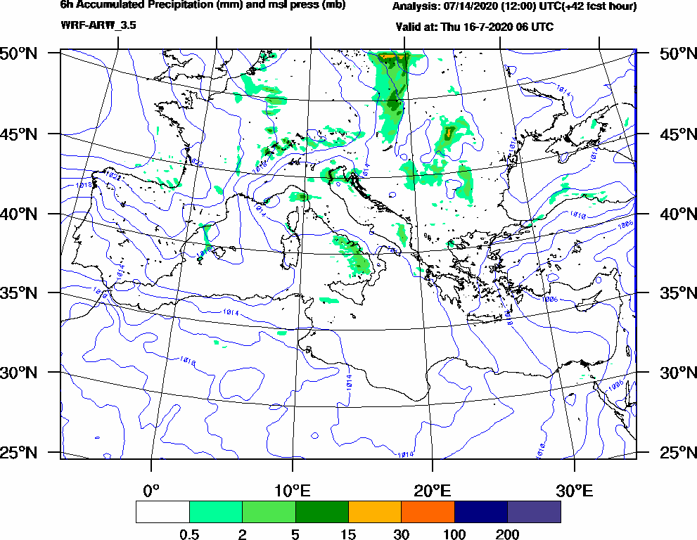 6h Accumulated Precipitation (mm) and msl press (mb) - 2020-07-16 00:00