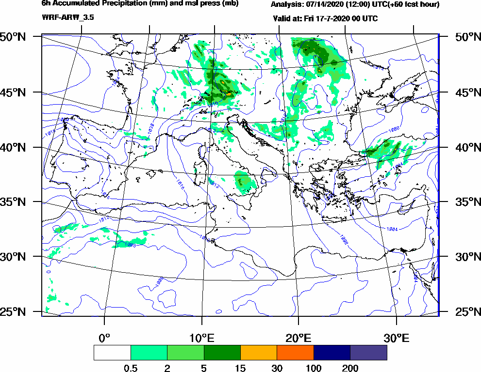 6h Accumulated Precipitation (mm) and msl press (mb) - 2020-07-16 18:00