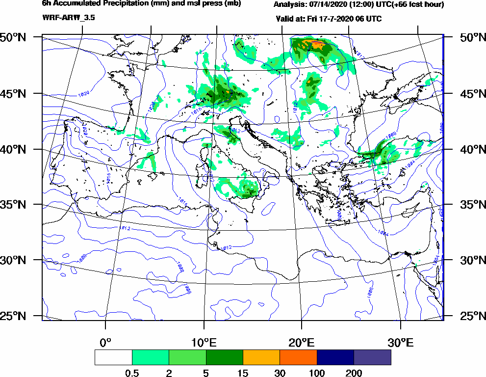 6h Accumulated Precipitation (mm) and msl press (mb) - 2020-07-17 00:00