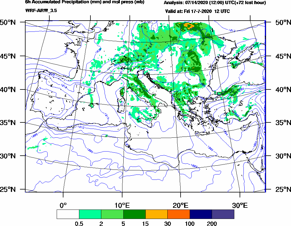 6h Accumulated Precipitation (mm) and msl press (mb) - 2020-07-17 06:00