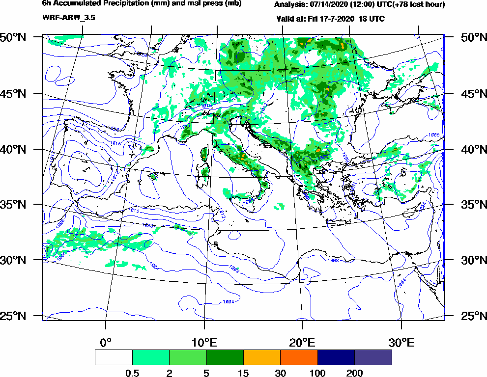 6h Accumulated Precipitation (mm) and msl press (mb) - 2020-07-17 12:00