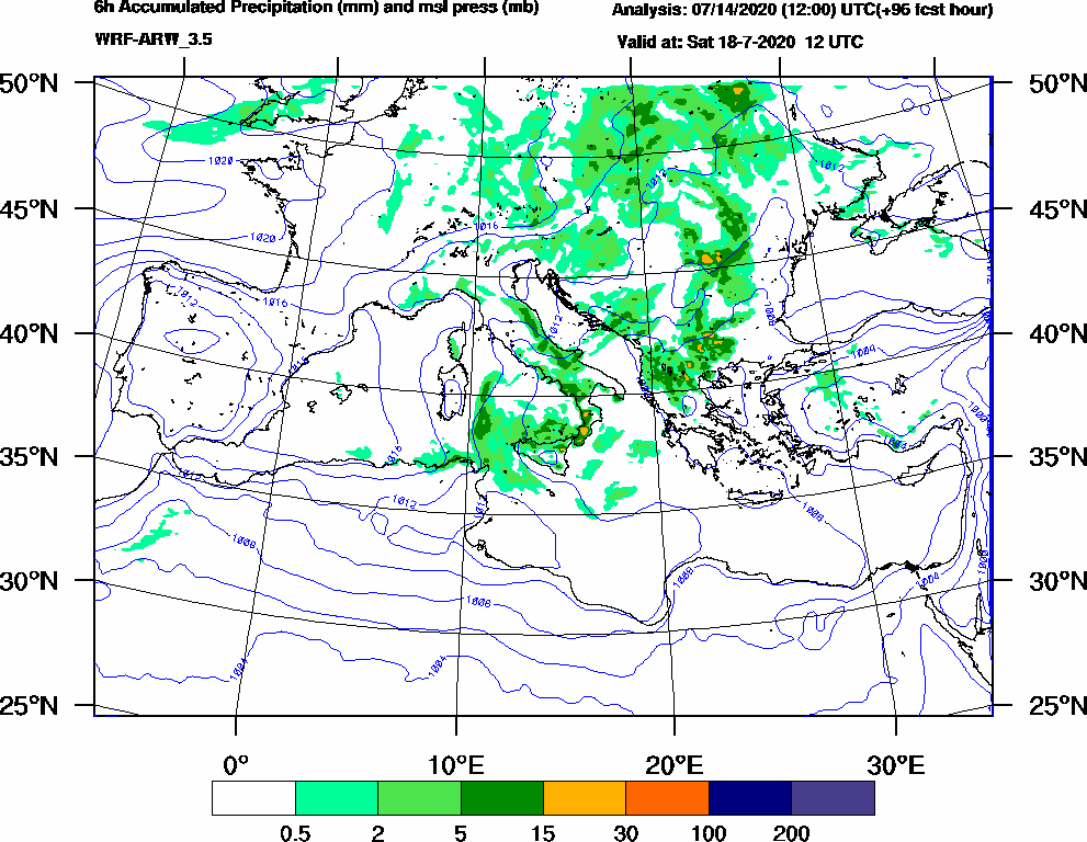 6h Accumulated Precipitation (mm) and msl press (mb) - 2020-07-18 06:00