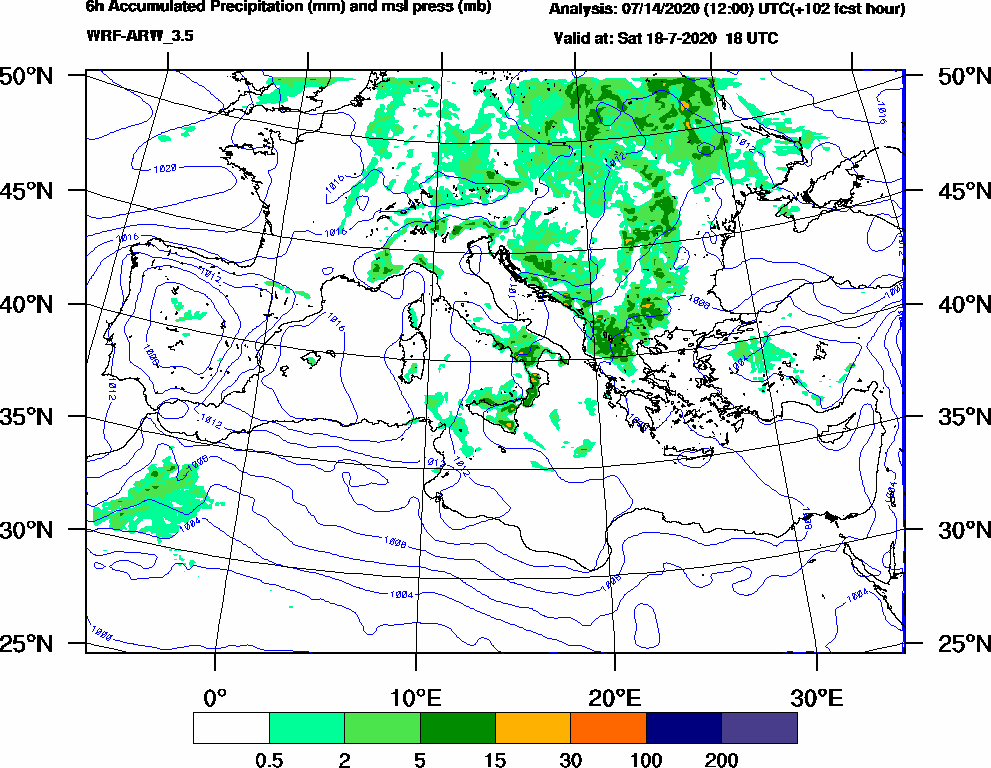 6h Accumulated Precipitation (mm) and msl press (mb) - 2020-07-18 12:00