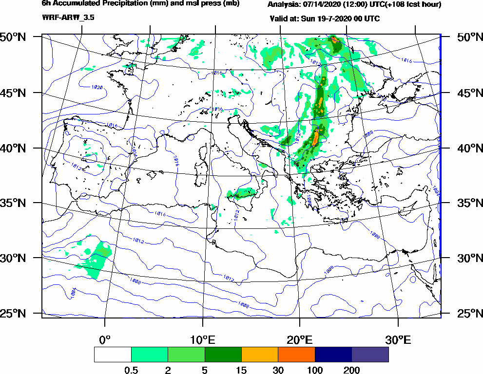 6h Accumulated Precipitation (mm) and msl press (mb) - 2020-07-18 18:00