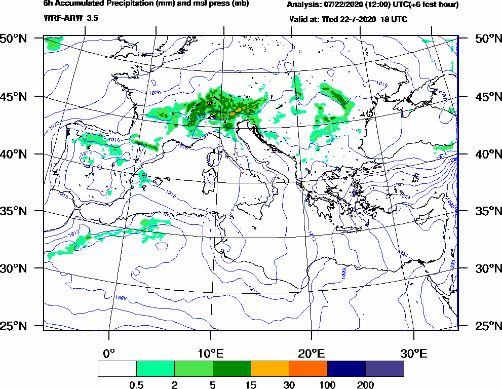6h Accumulated Precipitation (mm) and msl press (mb) - 2020-07-22 12:00
