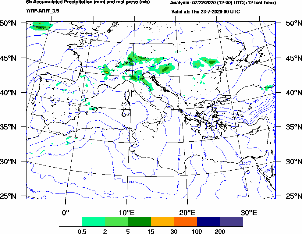6h Accumulated Precipitation (mm) and msl press (mb) - 2020-07-22 18:00
