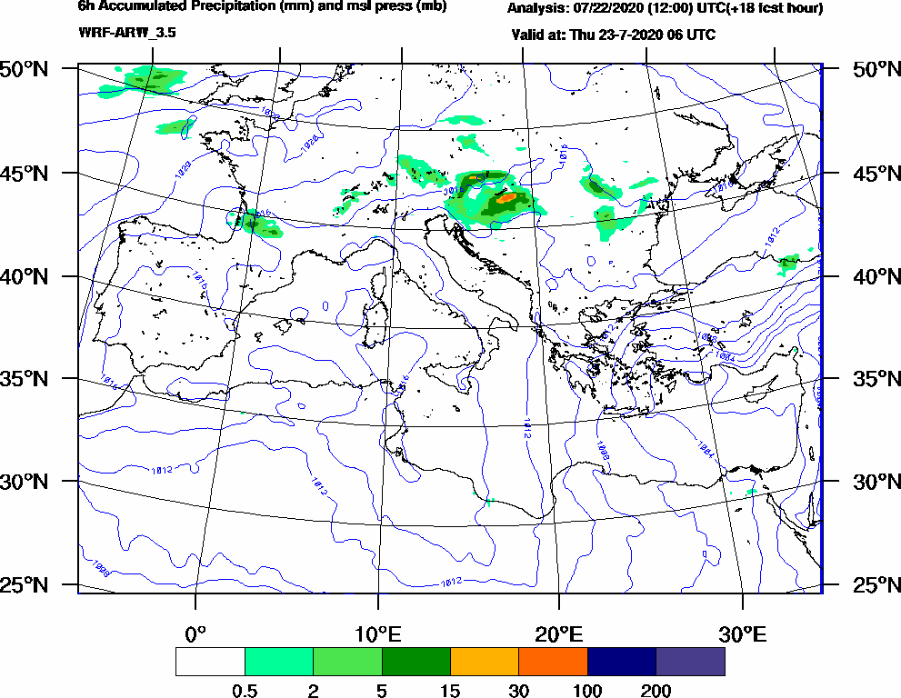 6h Accumulated Precipitation (mm) and msl press (mb) - 2020-07-23 00:00
