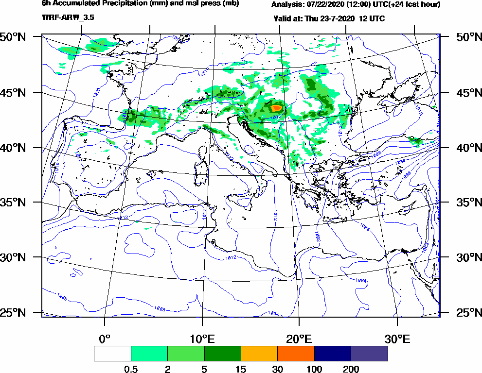 6h Accumulated Precipitation (mm) and msl press (mb) - 2020-07-23 06:00