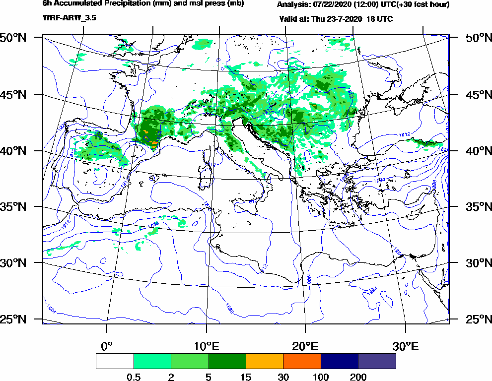 6h Accumulated Precipitation (mm) and msl press (mb) - 2020-07-23 12:00