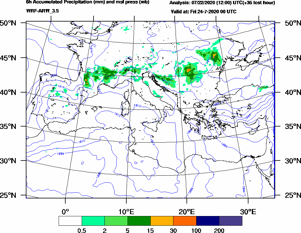 6h Accumulated Precipitation (mm) and msl press (mb) - 2020-07-23 18:00