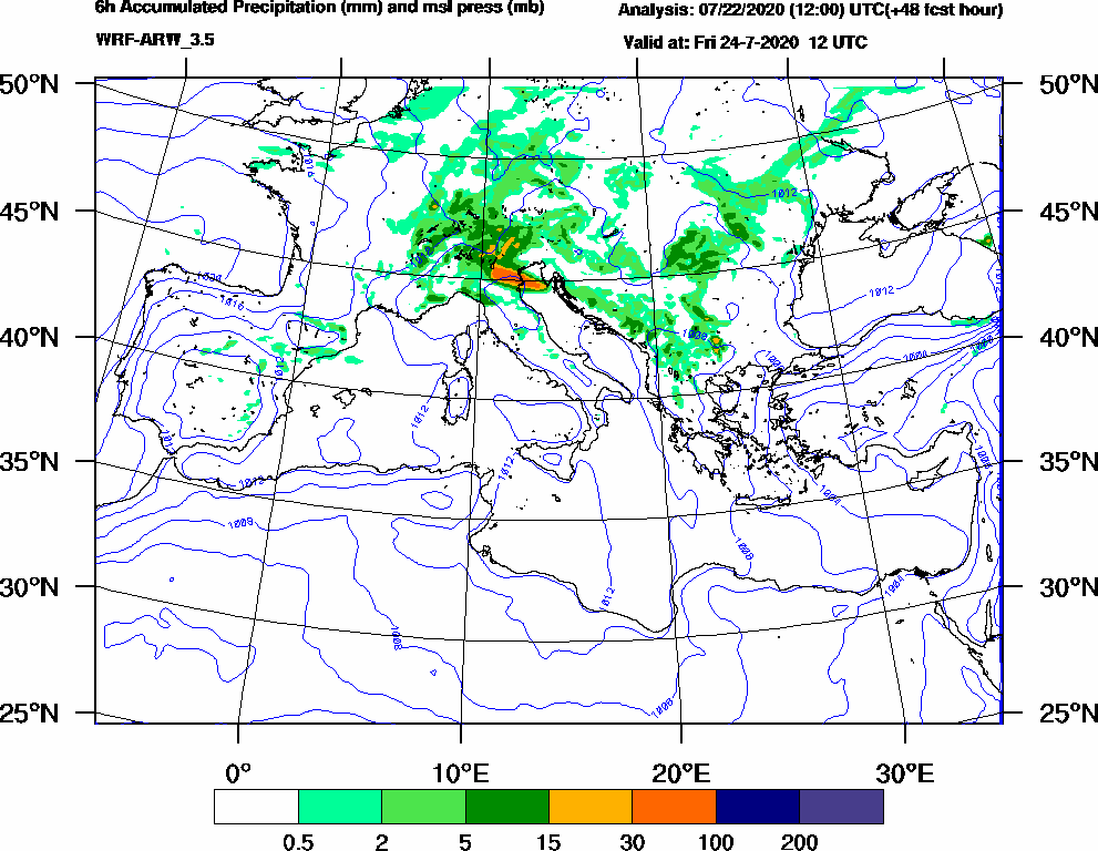 6h Accumulated Precipitation (mm) and msl press (mb) - 2020-07-24 06:00