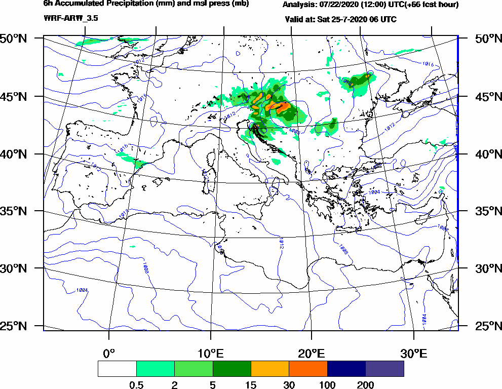 6h Accumulated Precipitation (mm) and msl press (mb) - 2020-07-25 00:00
