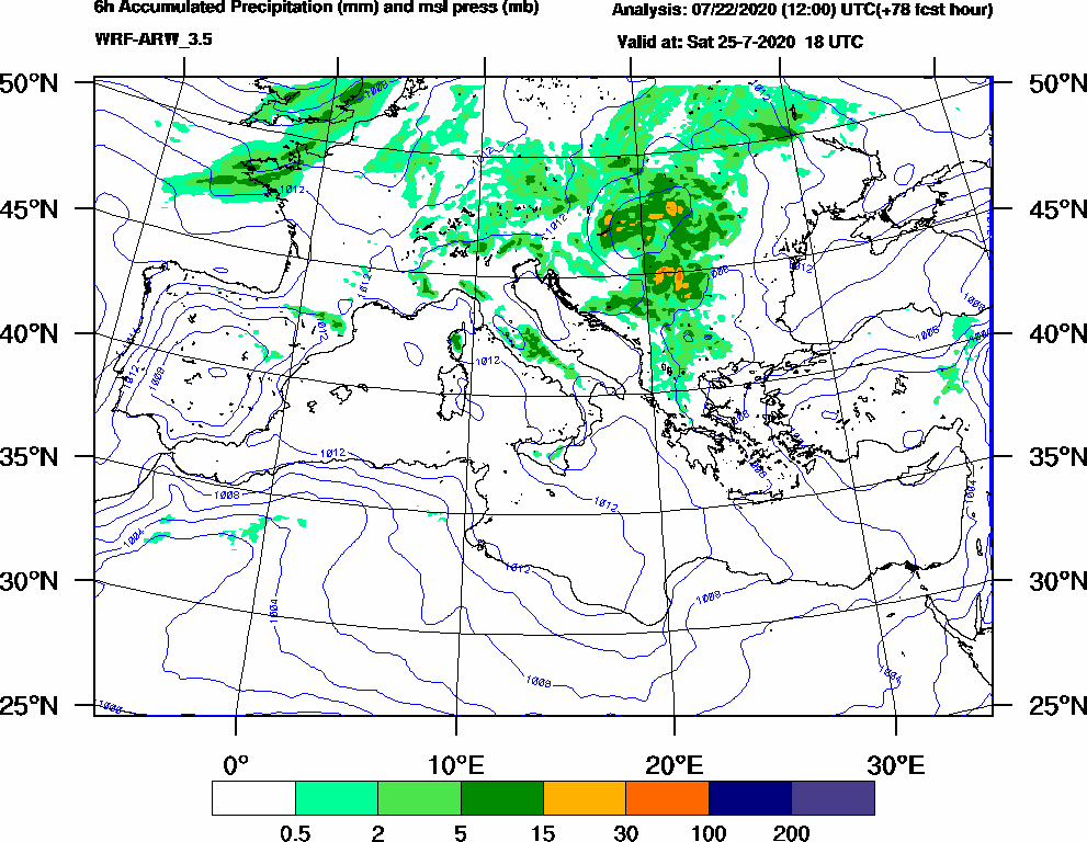 6h Accumulated Precipitation (mm) and msl press (mb) - 2020-07-25 12:00