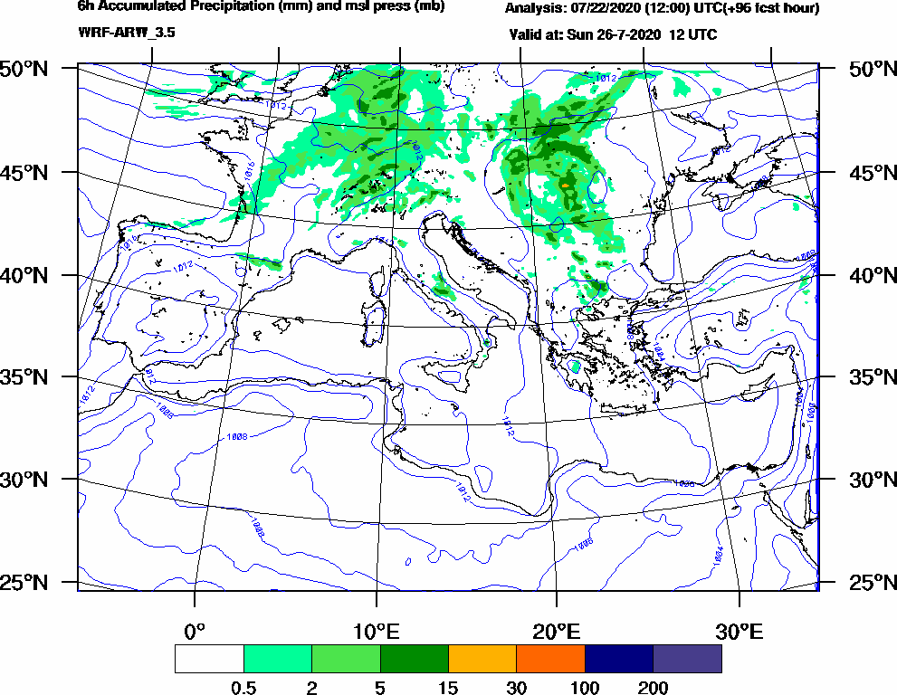 6h Accumulated Precipitation (mm) and msl press (mb) - 2020-07-26 06:00