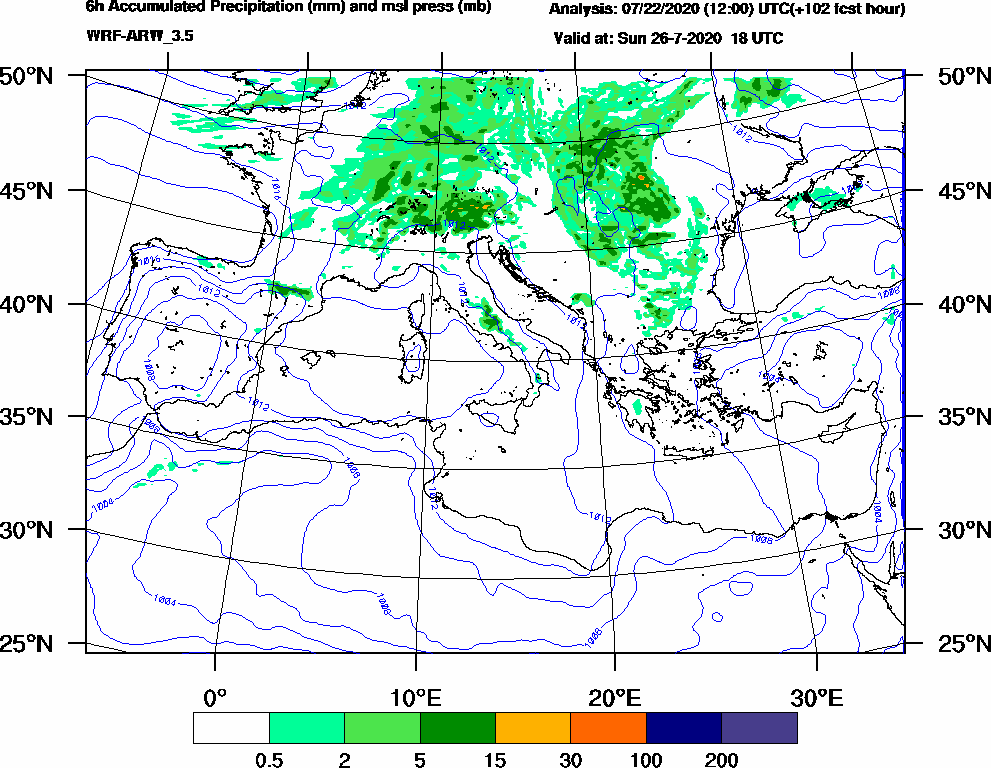 6h Accumulated Precipitation (mm) and msl press (mb) - 2020-07-26 12:00