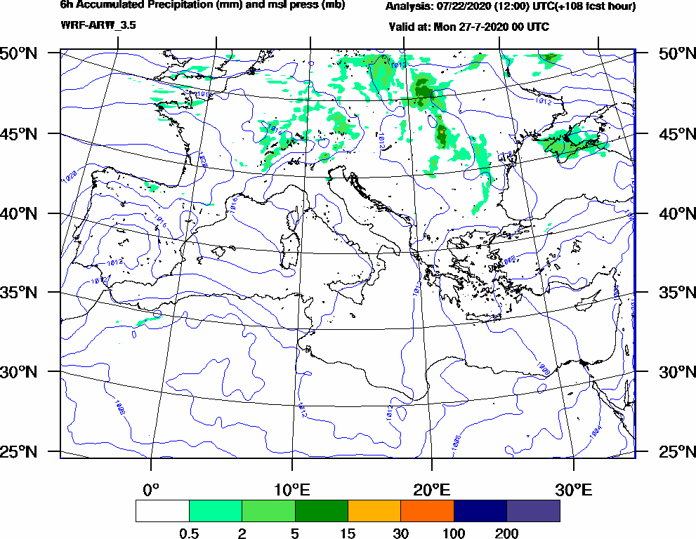 6h Accumulated Precipitation (mm) and msl press (mb) - 2020-07-26 18:00