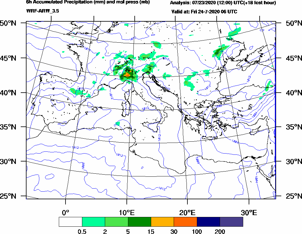 6h Accumulated Precipitation (mm) and msl press (mb) - 2020-07-24 00:00