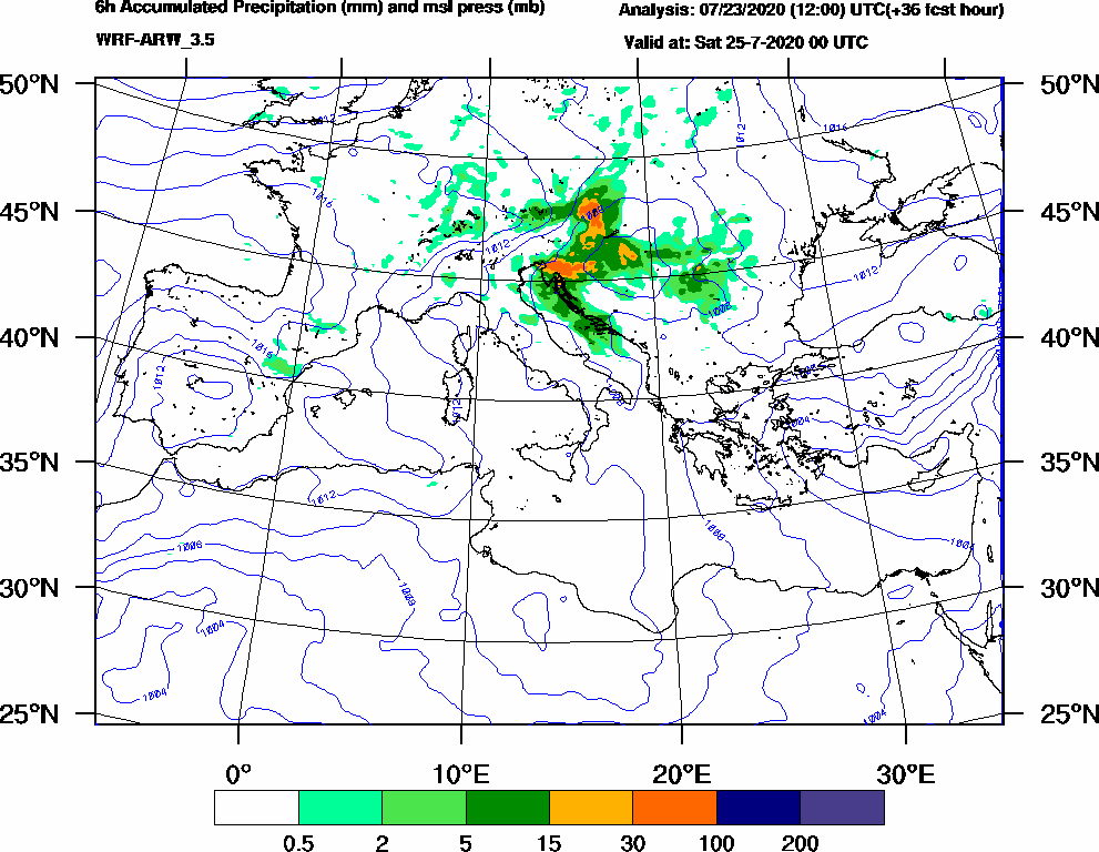 6h Accumulated Precipitation (mm) and msl press (mb) - 2020-07-24 18:00