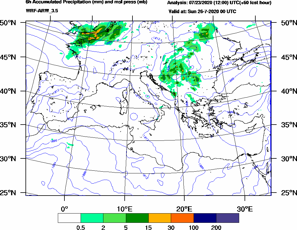 6h Accumulated Precipitation (mm) and msl press (mb) - 2020-07-25 18:00