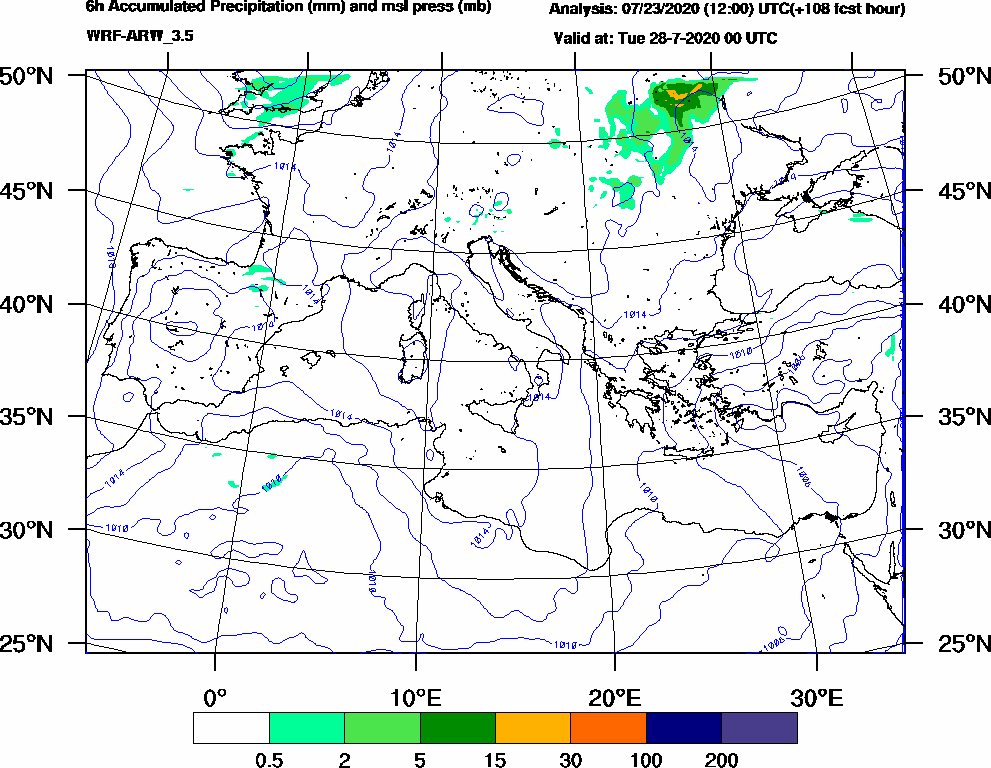 6h Accumulated Precipitation (mm) and msl press (mb) - 2020-07-27 18:00