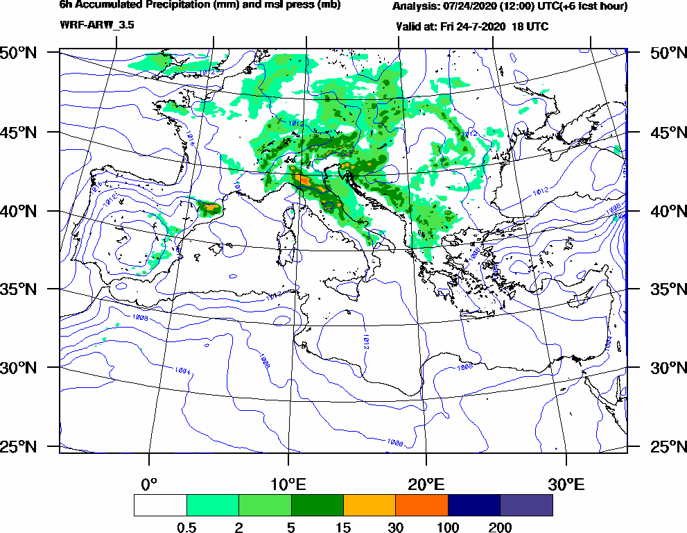6h Accumulated Precipitation (mm) and msl press (mb) - 2020-07-24 12:00