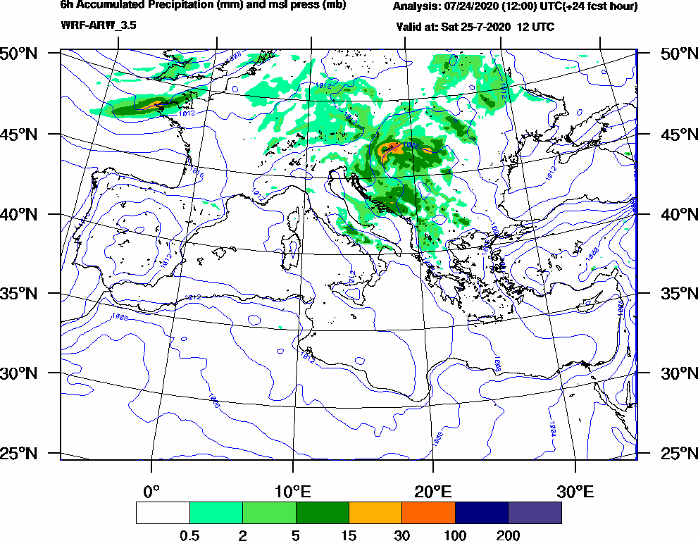 6h Accumulated Precipitation (mm) and msl press (mb) - 2020-07-25 06:00