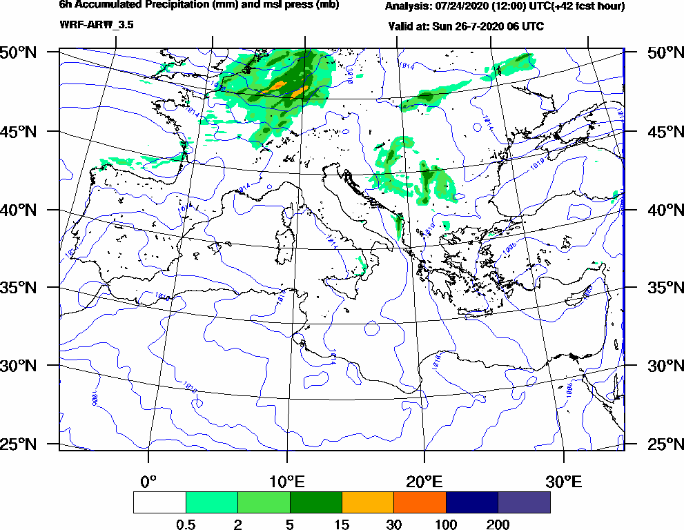 6h Accumulated Precipitation (mm) and msl press (mb) - 2020-07-26 00:00