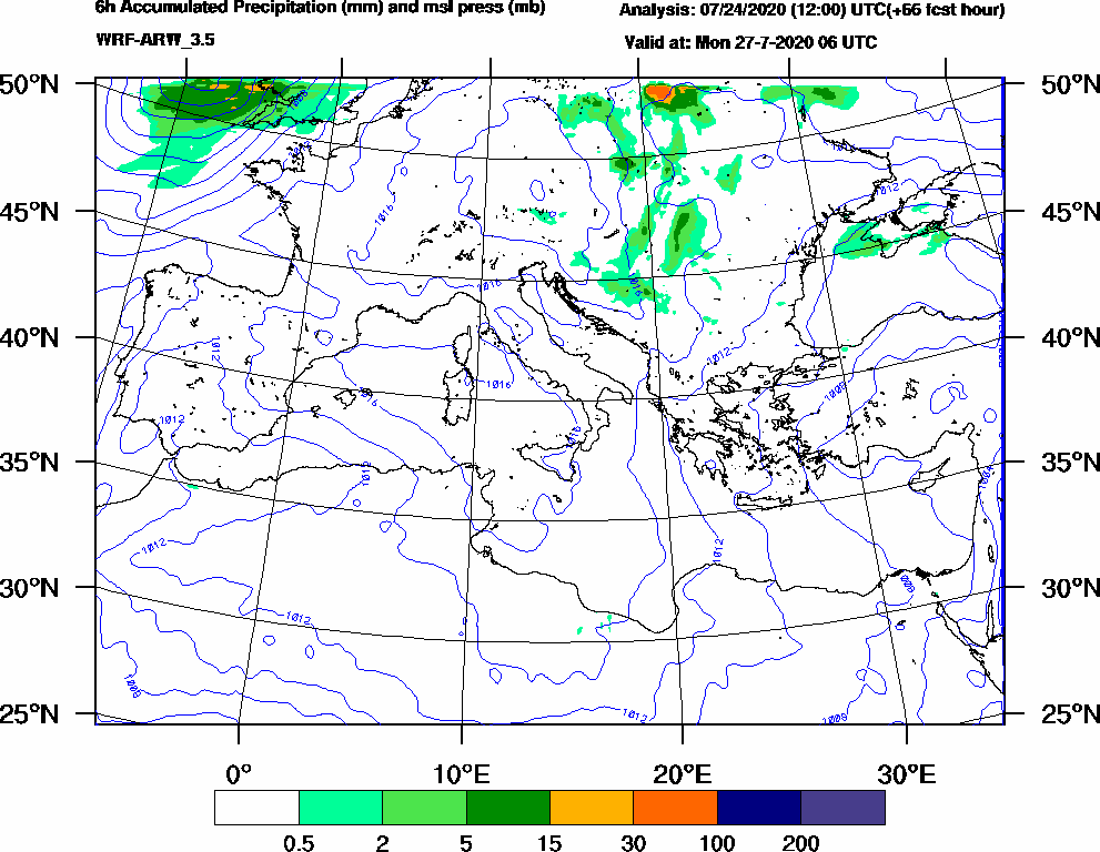 6h Accumulated Precipitation (mm) and msl press (mb) - 2020-07-27 00:00